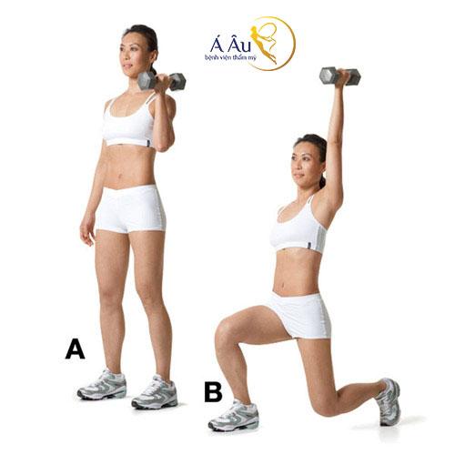 Động tác Reverse lunge with single arm press nữ giới